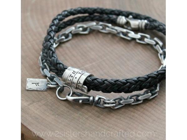 personalized men's bracelet stack