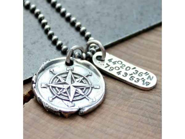 custom compass and coordinates necklace