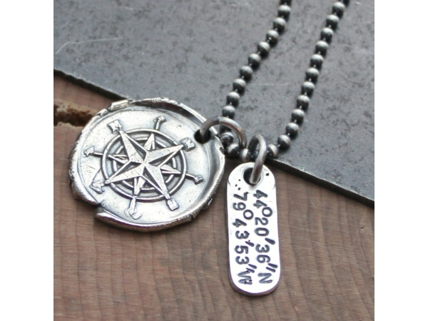 fine silver location necklace