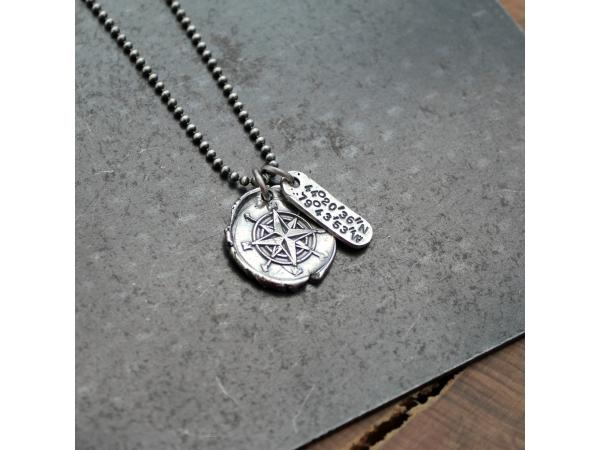 personalized compass necklace with longitude latitude