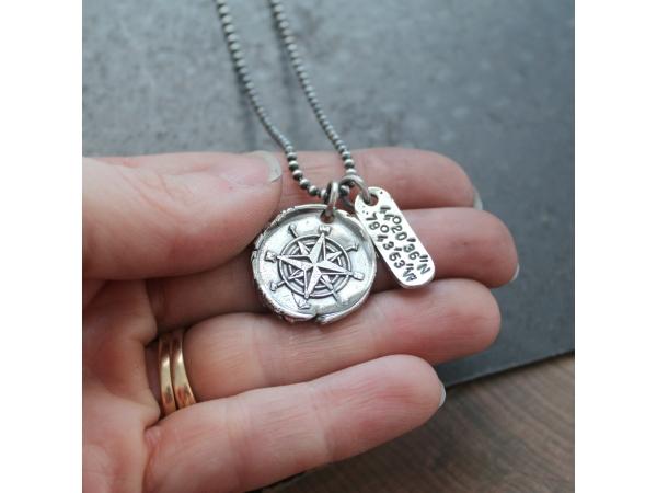 longitude and latitude silver necklace