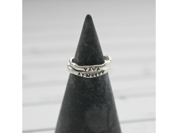 hand stamped engraved silver ring