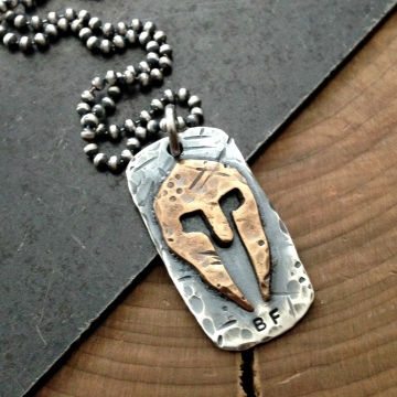 Spartan helmet necklace