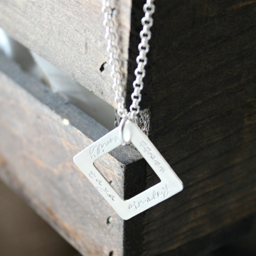 thick square personalized necklace