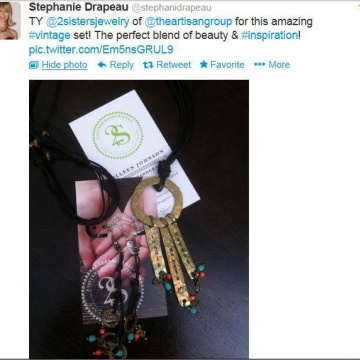 A gracious Thank you Tweet fro Stephanie Drapeau